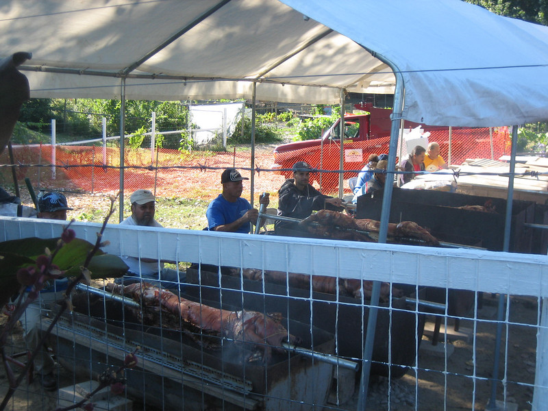 Hours earlier, I took this photo of the pig roasting (before the festival opened).  Jaime, in white cap, and the other men were rotating the spits by hand.