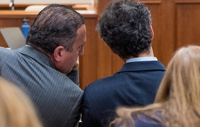 Defendant Gilberto Nunez confers with hs attorney Evan Lipton during the pretrial hearing for the Gilberto Nunez trial at the Ulster County Courthouse in the City of Kingston, NY on Wednesday, May 11th, 2016. KELLY MARSH/For the Times Herald-Record