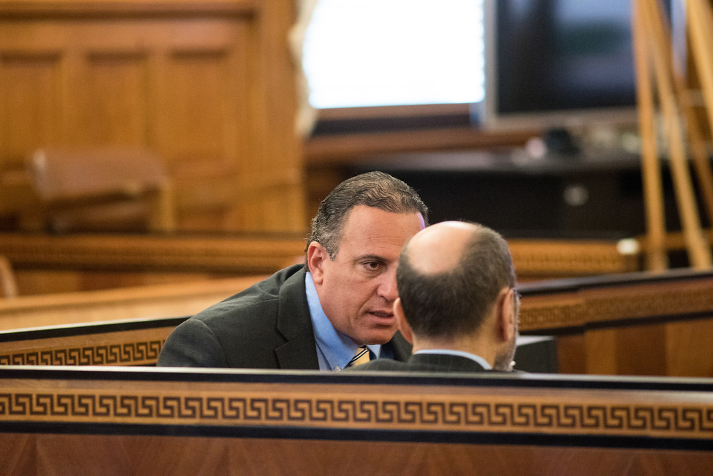 . Defendant Gilberto Nunez talks with his defense attorney Gerald Shargel during his murder trial at the Ulster County Courthouse in the City of Kingston, NY on Friday, May 27th, 2016. KELLY MARSH/For the Times Herald-Record