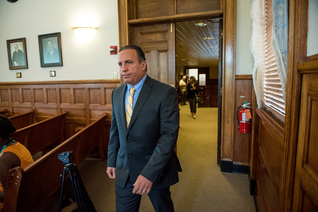 . Defendant Gilberto walks in to the courtroom during his murder trial at the Ulster County Courthouse in the City of Kingston, NY on Friday, May 27th, 2016. KELLY MARSH/For the Times Herald-Record