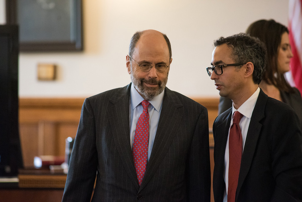 . Defense attorney\'s Gerald Shargel and Evan Lipton return to their seats after being called to the bench by Judge Donald Williams during the murder trial of Gilberto Nunez at the Ulster County Courthouse in the City of Kingston, NY on Friday, May 27th, 2016. KELLY MARSH/For the Times Herald-Record