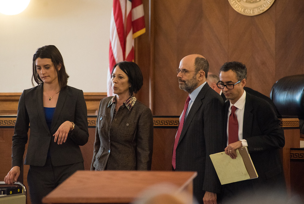 . Attorney\'s return to their seats after being called to the bench during the murder trial of Gilberto Nunez at the Ulster County Courthouse in the City of Kingston, NY on Friday, May 27th, 2016. KELLY MARSH/For the Times Herald-Record