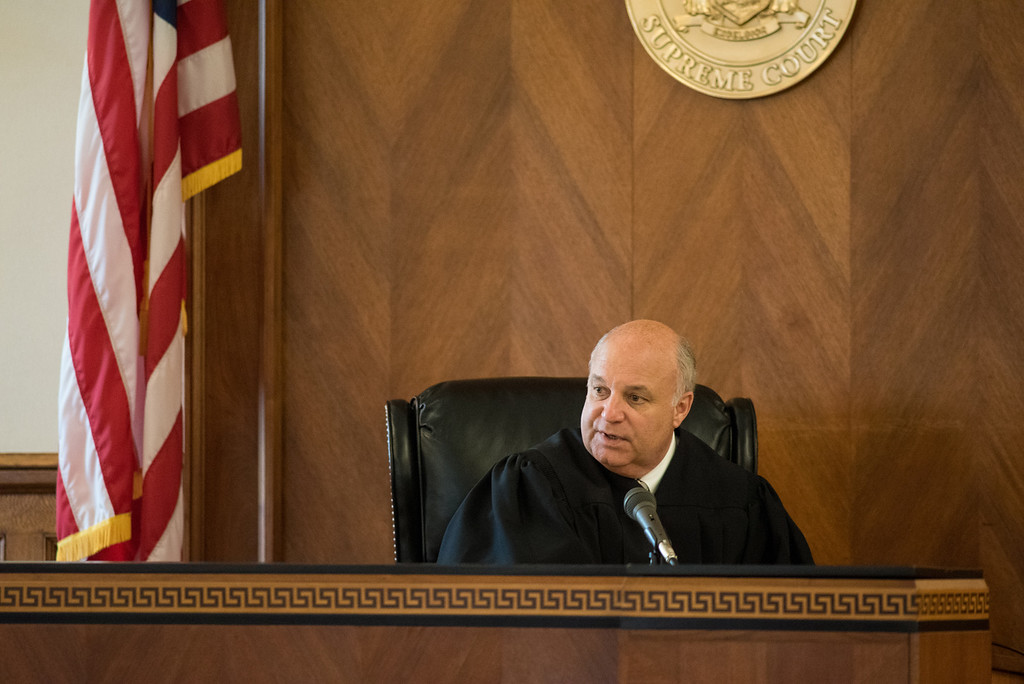 . Judge Donald Williams talks to the attorneys during the Gilberto Nunez murder trial at the Ulster County Courthouse in the City of Kingston, NY on Friday, May 27th, 2016. KELLY MARSH/For the Times Herald-Record