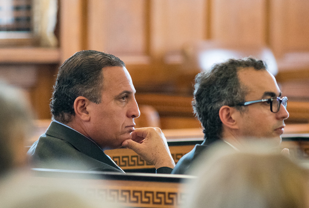 . Defendant Gilberto Nunez sits in court with his defense attorney Evan Lipton during his murder trial at the Ulster County Courthouse in the City of Kingston, NY on Friday, May 27th, 2016. KELLY MARSH/For the Times Herald-Record