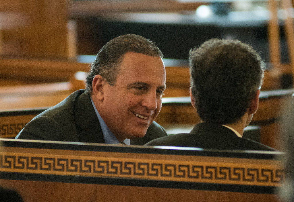 . Defendant Gilberto Nunez talks with his defense attorney Evan Lipton during his murder trial at the Ulster County Courthouse in the City of Kingston, NY on Friday, May 27th, 2016. KELLY MARSH/For the Times Herald-Record