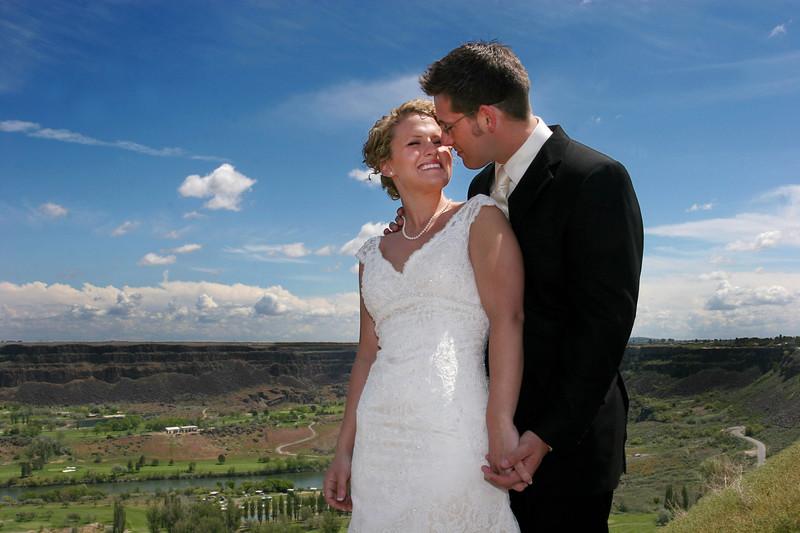 Pretty view, pretty bride, pretty day.  The groom is handsome, OK?