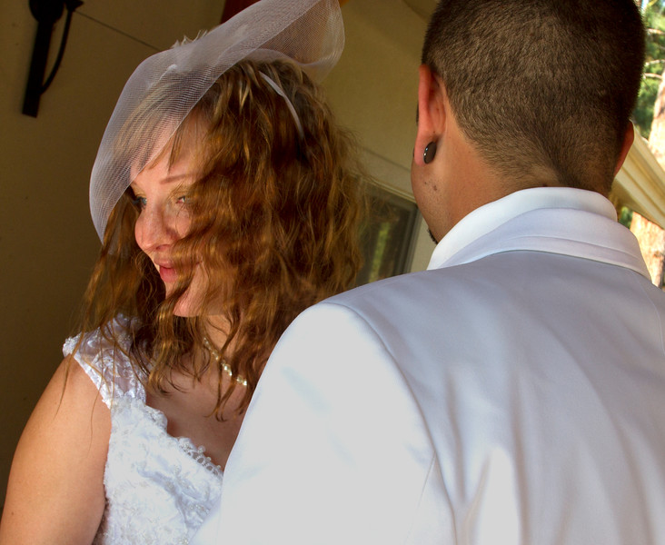 A great moment of happiness as the couple see each other dressed up for the day for the first time.