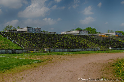 A portion of the South West side of Zeppelin Field. This is the side adjacent to the grand stands (containing the podium which Hitler spoke from).