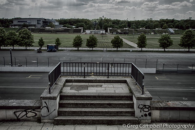 This is the podium on the grandstand of Zeppelin field. Hitler stood here to address members of the Nazi Party.