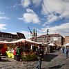 Continuation of market into central square in Nuremberg's Aldstadt (old town).