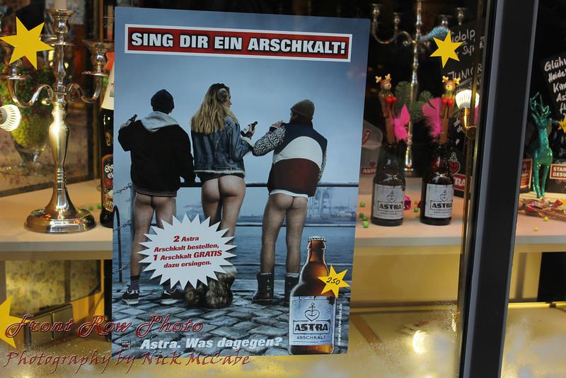 An add in a store window.