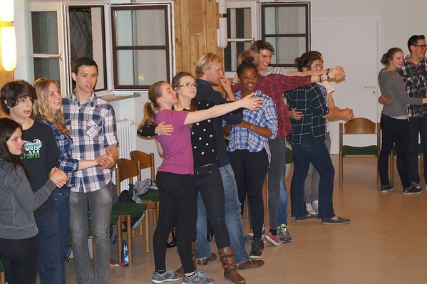 A high school foreign exchange student in Germany taking a traditional Bavarian dance class