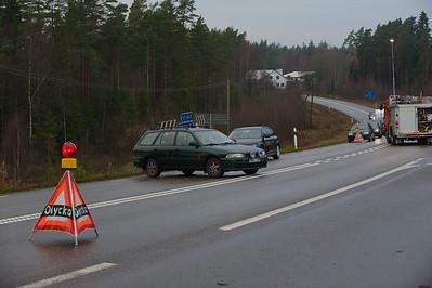 Trafikolycka norr Lammhult 2 bilar