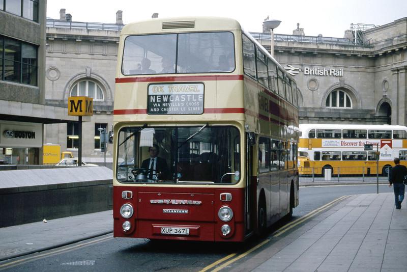 O K Motor Services Bishop Auckland XUP347L Grainger St Newcastle Jul 86