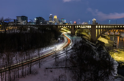 35W Bridge Yellow - Light Trails