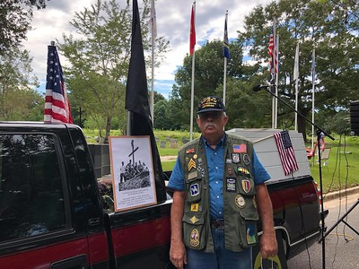 Sept 10, 2018 - Plaque unveiling and Flag Pole Dedication Ceremony MC today - Bill Atkeison US Army - Vietnam, on display is the first American Memorial erected in Vietnam