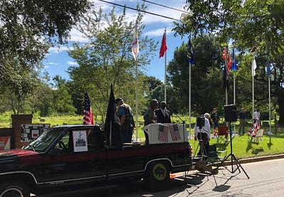 Sept 10, 2018 - Plaque unveiling and Flag Pole Dedication - Bill Atkeison, Eddie Irby, Jr , Rev  McQueen, Chaplain Jim Gable MPD, Neil Bruyn, Tom Baugh, Jerrell Scott