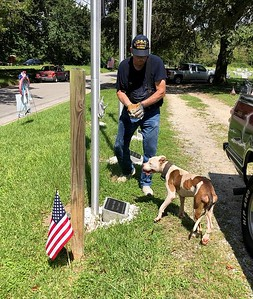 "Sept 8, 2018 - Bill Atkeison has put the final touches on the plaques with a little help from""worthless"", nice showing today honoring our Veterans at Oaklawn"