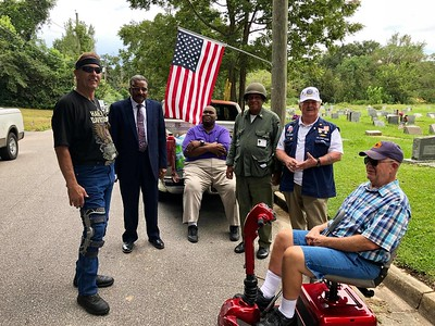 Sept 10, 2018 - Plaque unveiling and Flag Pole Dedication - from left to right, Neil Bruyn, Rev Harold Johnson, Reginald Bullard, Eddie Irby, Jr, Don Vincent, Tom Schwarz