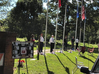 Sept 10, 2018 - Plaque unveiling and Flag Pole Dedication - Shirley Knight, Libby Davis, Chaplain Jim Gabel MPD, Neil Bruyn USAF, III Eng Terrell Scott USMM