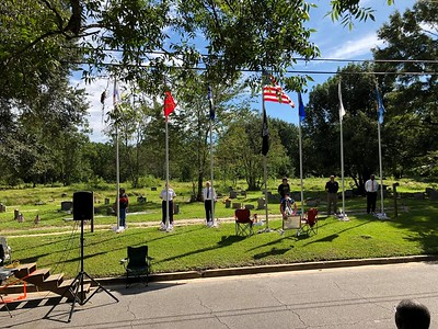Sept 10, 2018 - Plaque unveiling and Flag Pole Dedication -a Shirley Knight, Libby Davis, Chaplain Jim Gabel MPD, Neil Bruyn USAF, III Eng Terrell Scott USMM