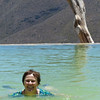 """Trudy swimming in the Hierve el Agua """"infinity"""" pool"""