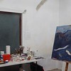 Painting in progress, work table and palette where I mix powdered natural pigments with acrylic mediums