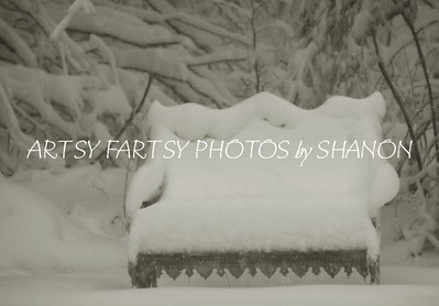 snow covered bench bw
