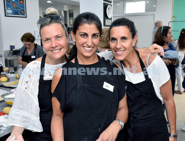 OBK Hamantashen Bake. From left: Lilly Haikin, Yael Raber, Isabelle Stanton. Pic Noel Kessel