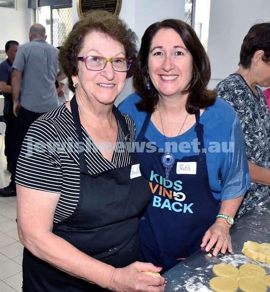 OBK Hamantashen Bake. Sheila Benjamin (left), Ruth Kellerman. Pic Noel Kessel
