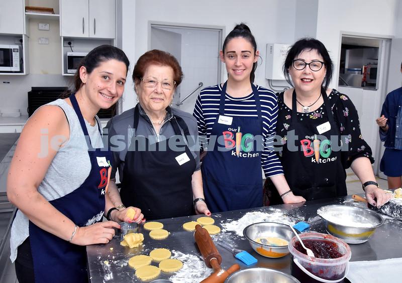 OBK Hamantashen Bake. From left: Lindy Klein, Katie Klein, Marissa Wilk, Judy Wilk. Pic Noel Kessel