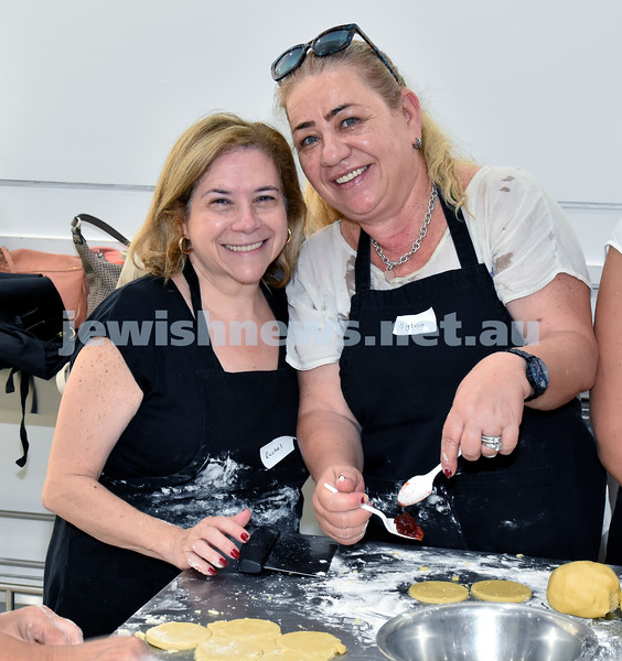 OBK Hamantashen Bake. Rachel Ben Zaken (left), Sylvia Aviv. Pic Noel Kessel