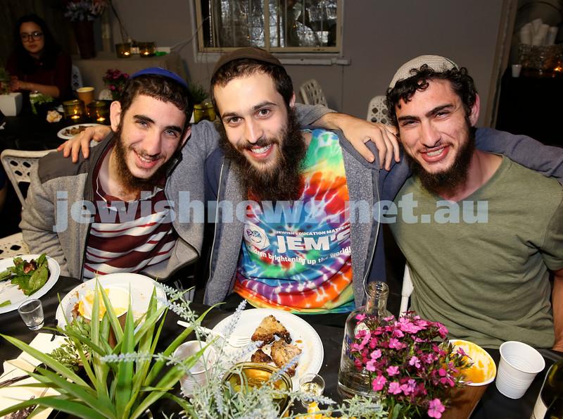 OBK, Jems Succot party in Bondi. (from left) Binyamin Zaetz, Shmuel Munkes, Hillel Paritcher. Pic Noel Kessel.