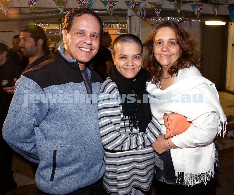 OBK, Jems Succot party in Bondi. (from left) Adail Retamal, Stella Maris Retamal, Elida Retamal. Pic Noel Kessel