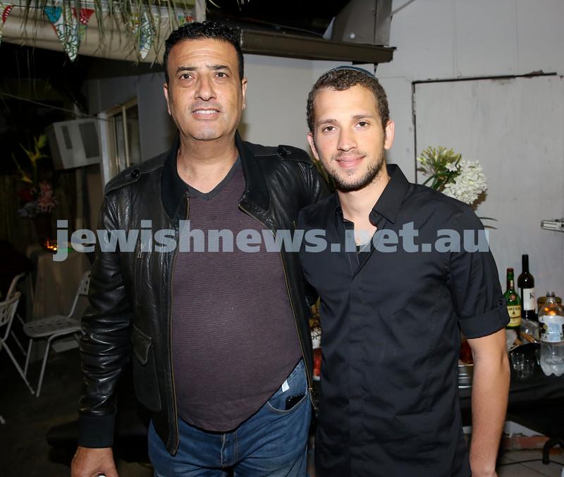 OBK, Jems Succot party in Bondi. Yehuda Shmueli (left), David Kogan. Pic Noel Kessel.