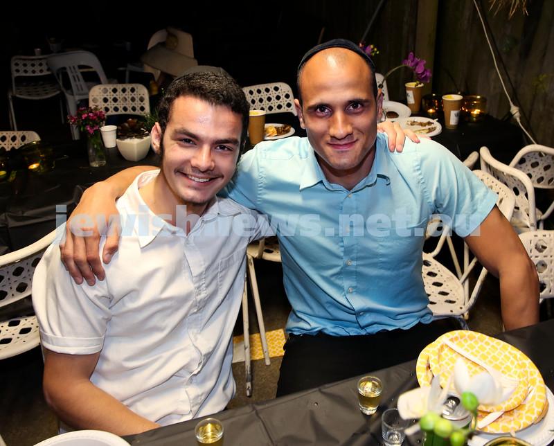 OBK, Jems Succot party in Bondi. Mendel Slavin (left), Roy Sabag. Pic Noel Kessel.