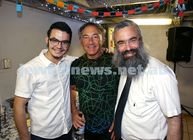 OBK, Jems Succot party in Bondi. (from left) Mendel Slavin, Ian Ossher, Rabbi Dovid Slavin. Pic Noel Kessel.