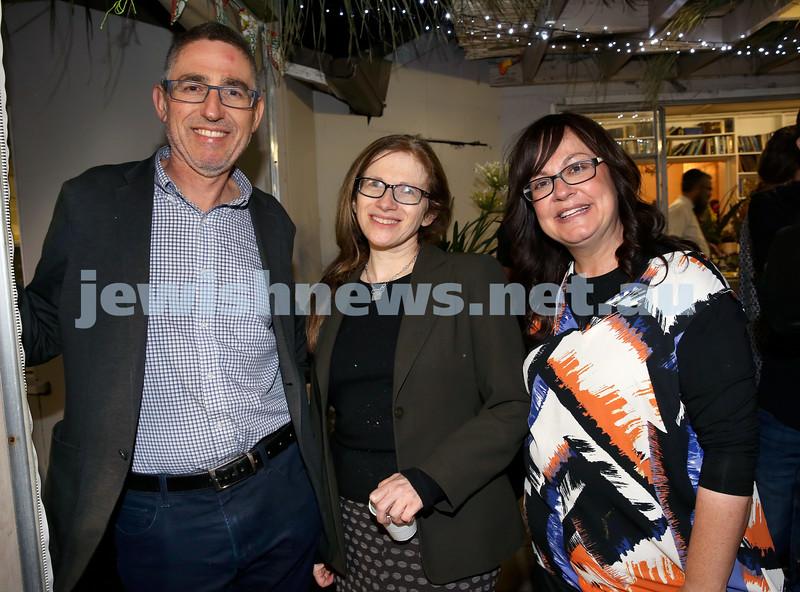 OBK, Jems Succot party in Bondi. (from left) David Fisher, Liz Hovey, Laya Slavin. Pic Noel Kessel