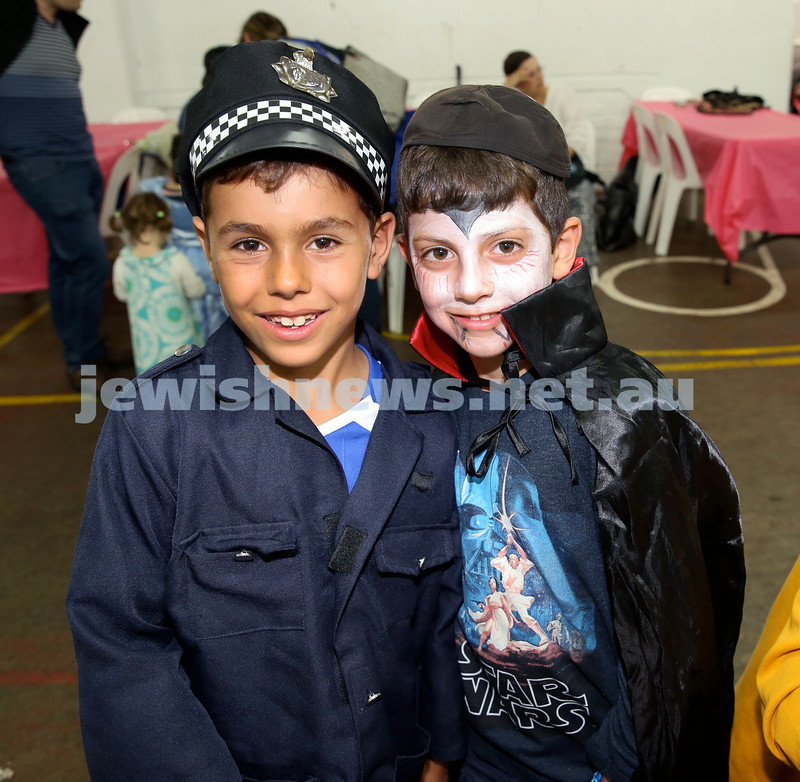 Jems, PJ Library & OBK Purim party at OBK. Mark Greenberg (left) & Zak Einati. Pic Noel Kessel.