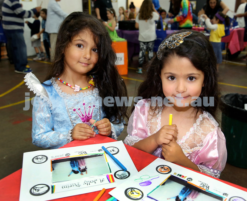 Jems, PJ Library & OBK Purim party at OBK. Coco (left) & Ruby Badolato. Pic Noel Kessel.