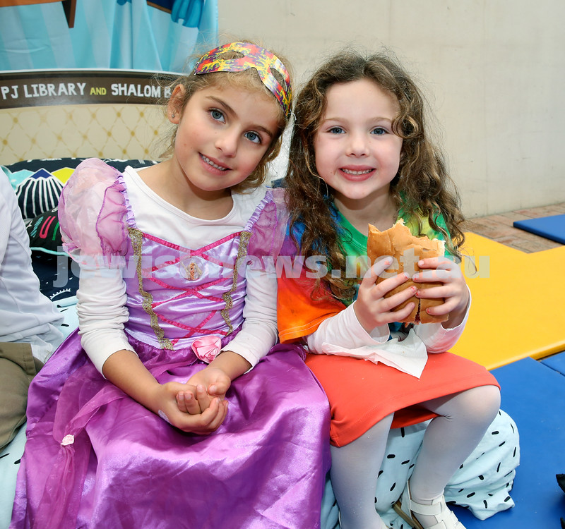 Jems, PJ Library & OBK Purim party at OBK. Mushka Shuchat & Mussia Slavin. Pic Noel Kessel.
