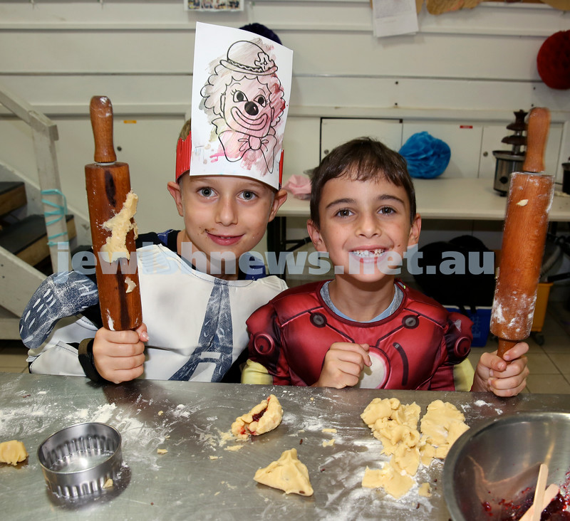 Jems, PJ Library & OBK Purim party at OBK. Ben Palmer (left) and Oscar Saul. Pic Noel Kessel.