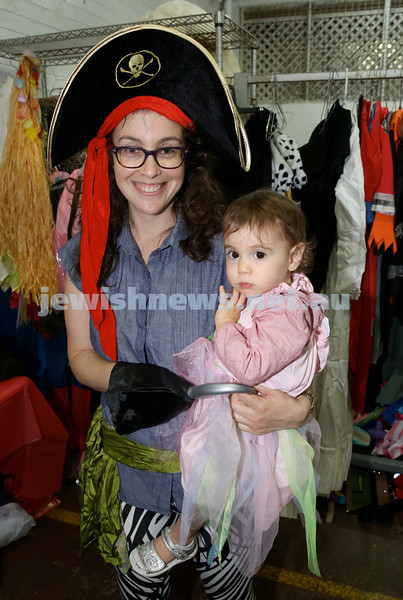 Jems, PJ Library & OBK Purim party at OBK. Netta Efron with daughter Naomi. Pic Noel Kessel.