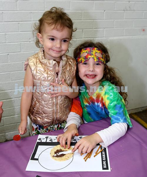 Jems, PJ Library & OBK Purim party at OBK. Rivka & Mussia Slavin. Pic Noel Kessel.