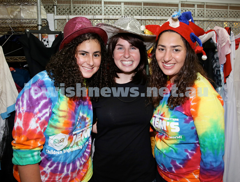 Jems, PJ Library & OBK Purim party at OBK. (from left) Tammy Lazarus, Mushka Munitz, Chavi Lazarus. Pic Noel Kessel.