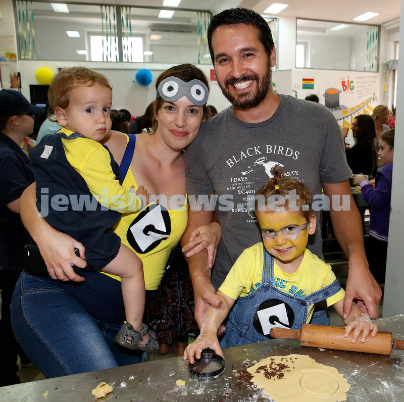 Jems, PJ Library & OBK Purim party at OBK. Keren & Shay Dahan with their children Tommy (left) & Lenny, making Hamantashen. Pic Noel Kessel.