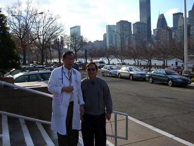 in front of the hospital with east river and the skyline of Manhattan in the background photo credit: peter