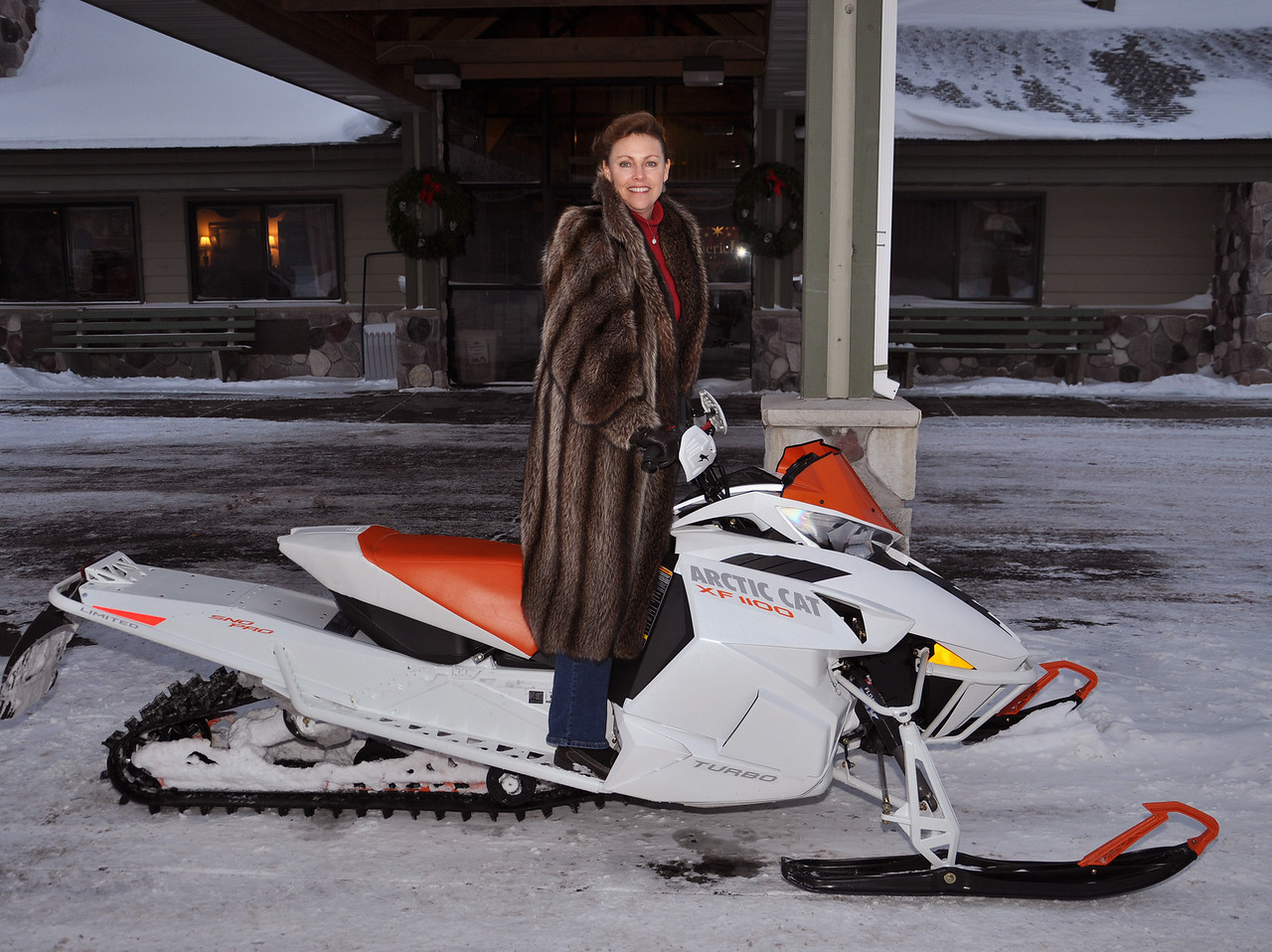 Lorraine DeMarois and the Arctic Cat Snowmobile!
