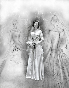 Mom in her wedding dress along with her 2 concept drawings. She designed and made the wedding dress herself.