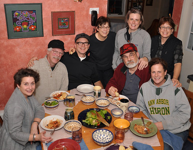 Left to Right Cheryl O'Brien, Greg O'Brien, Bernie O'Brien, Beth O'Brien, Eileen O'Brien, Jim O'Brien,  Josie Teodosijeva and Nora O'Brien all enjoying Art's Puttanesca Dinner